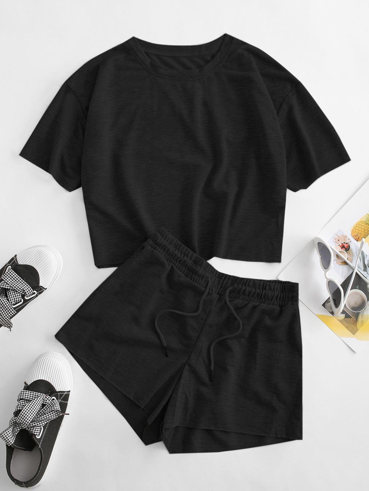 Drop Shoulder Pocket Drawstring Shorts Set