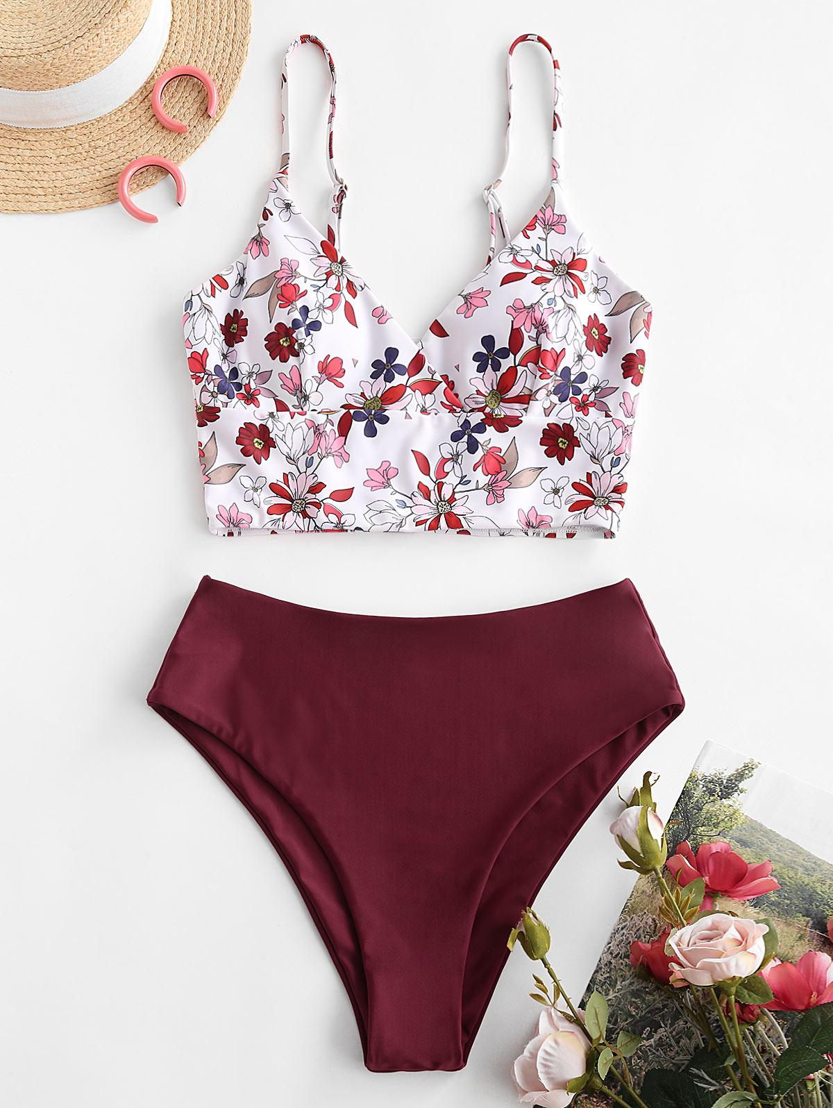 ZAFUL Floral Surplice-front Tankini Swimwear