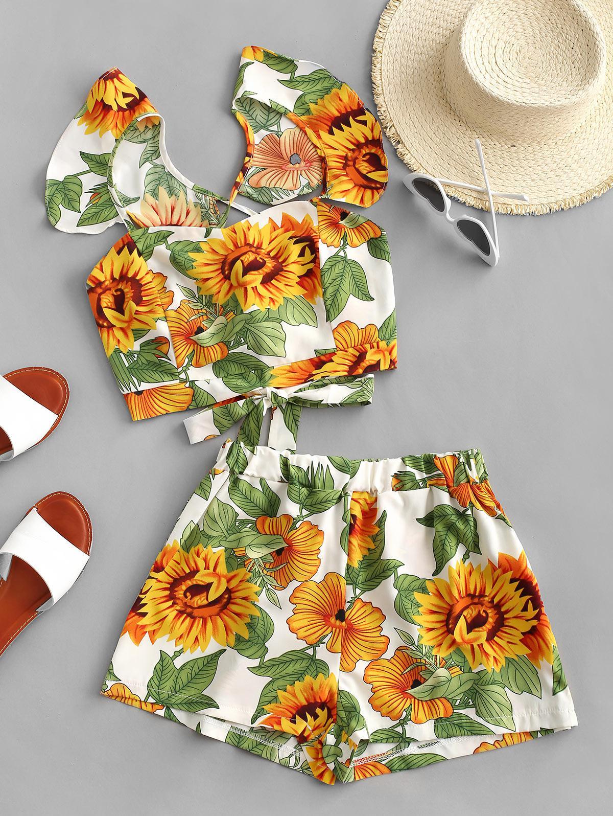 Sunflower Ruffle Crisscross Tie Back Shorts Set