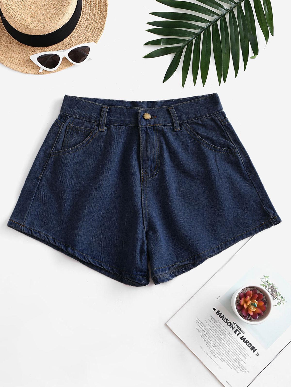 Pocket Zip Fly Wide Leg Denim Shorts