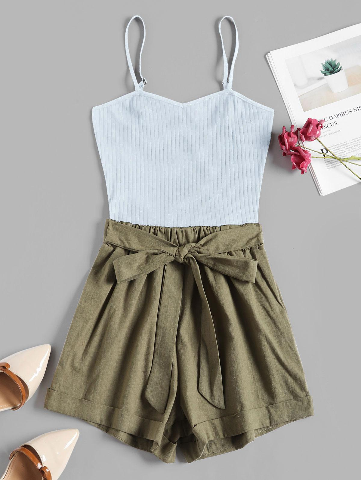 Ribbed Panel Tie Waist Two Tone Cami Romper