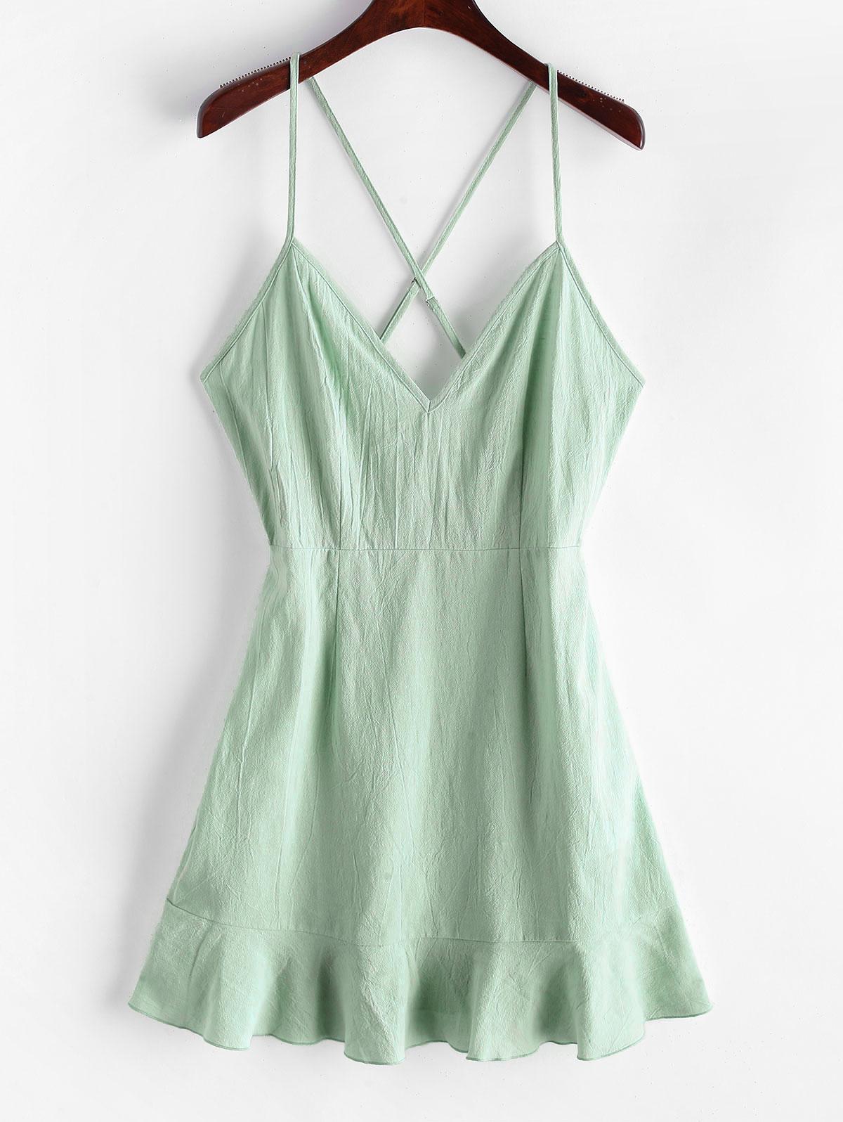 ZAFUL Ruffles Criss Cross Solid Cami Dress