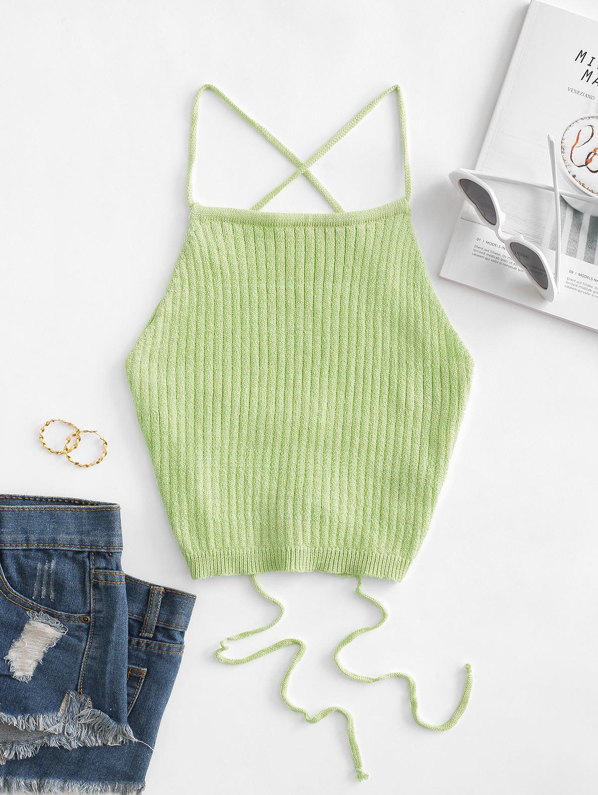 Lace Up Knitted Crop Cami Top