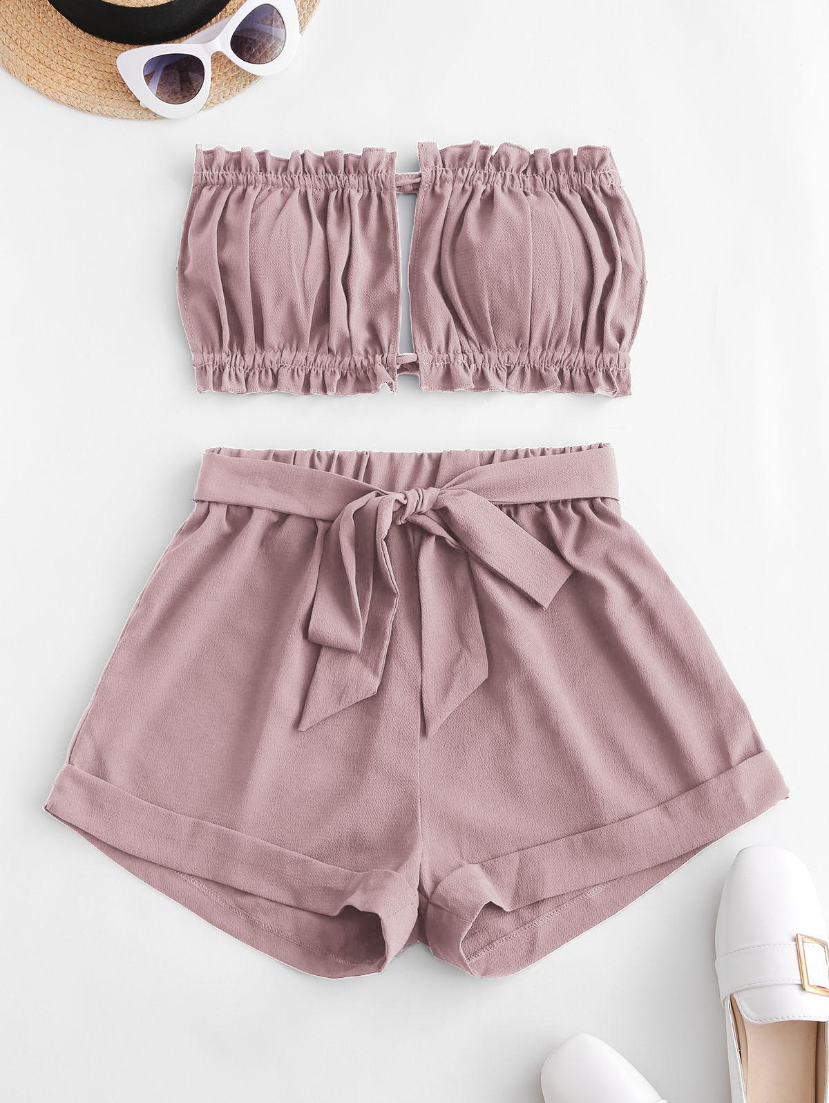 ZAFUL Two Piece Cuffed Hem Tie Back Bandeau Top
