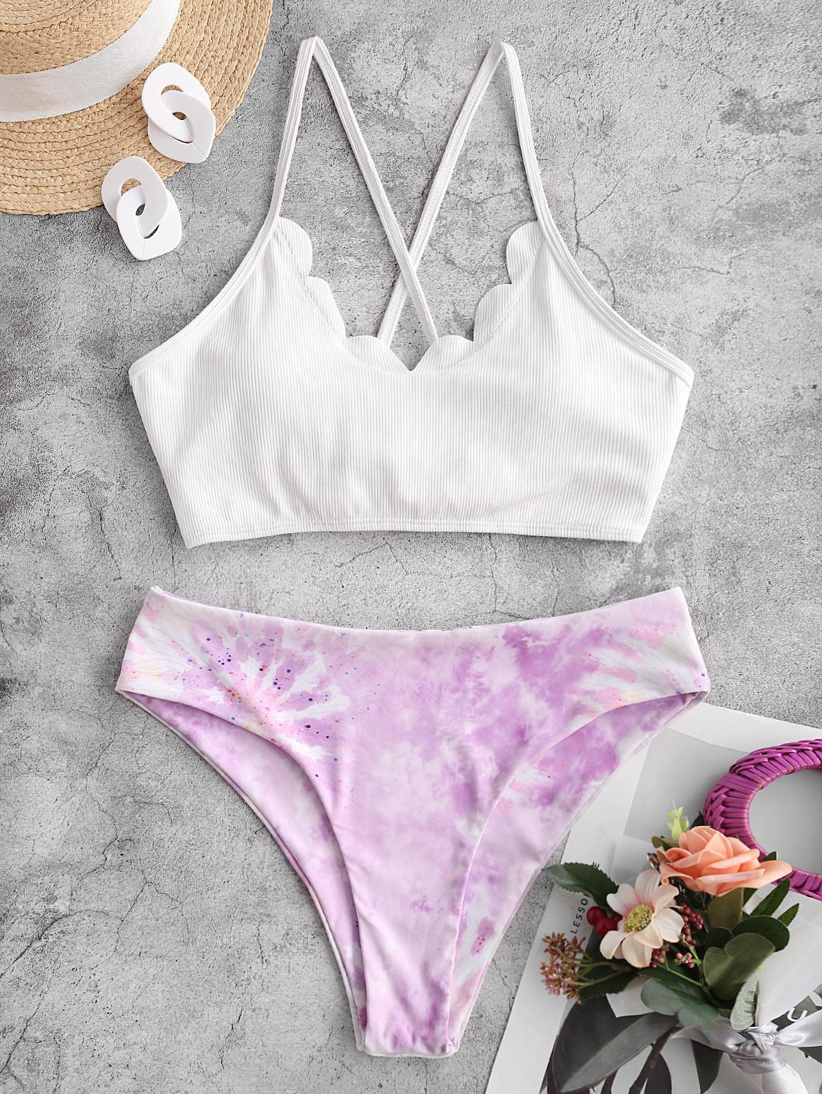 zaful Tie Dye Lace-up Tankini Swimwear