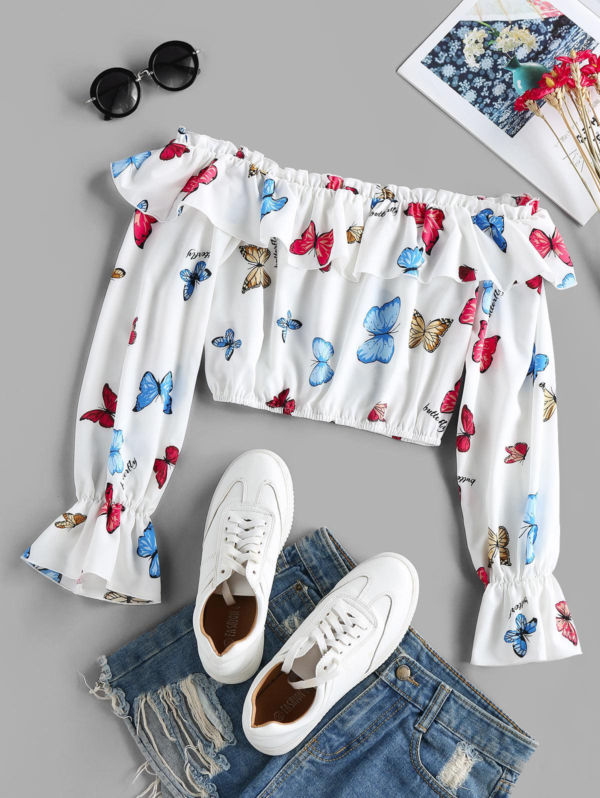 ZAFUL Ruffled Off Shoulder Butterfly Print Crop Blouse