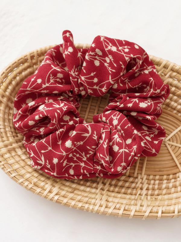 Branch Floral Print Fabric Scrunchy