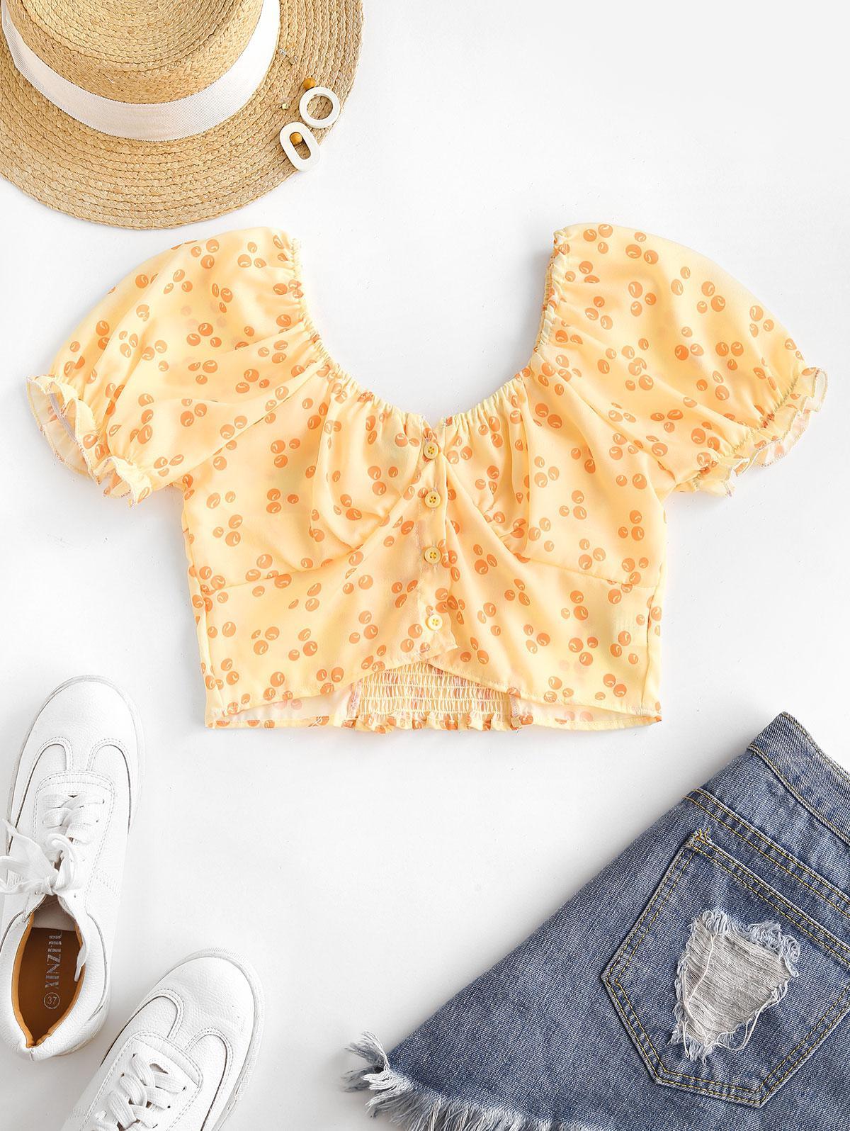 Printed Smocked Puff Sleeve Milkmaid Top