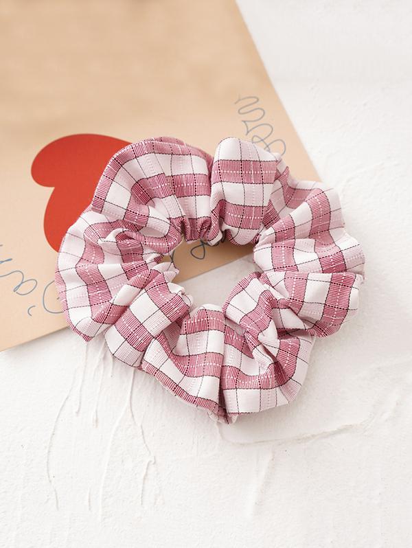 Tartan Pattern Fabric Scrunchy