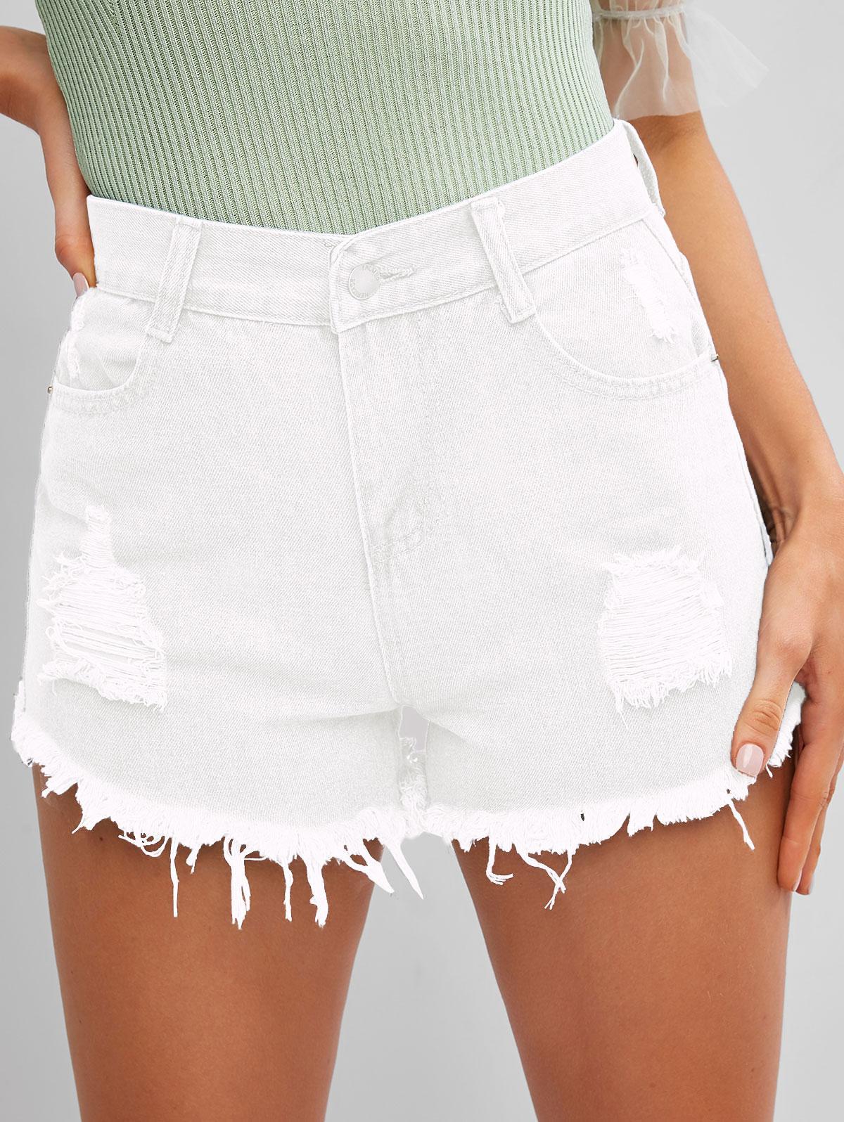 Frayed Hem Ripped Denim Cutoff Shorts
