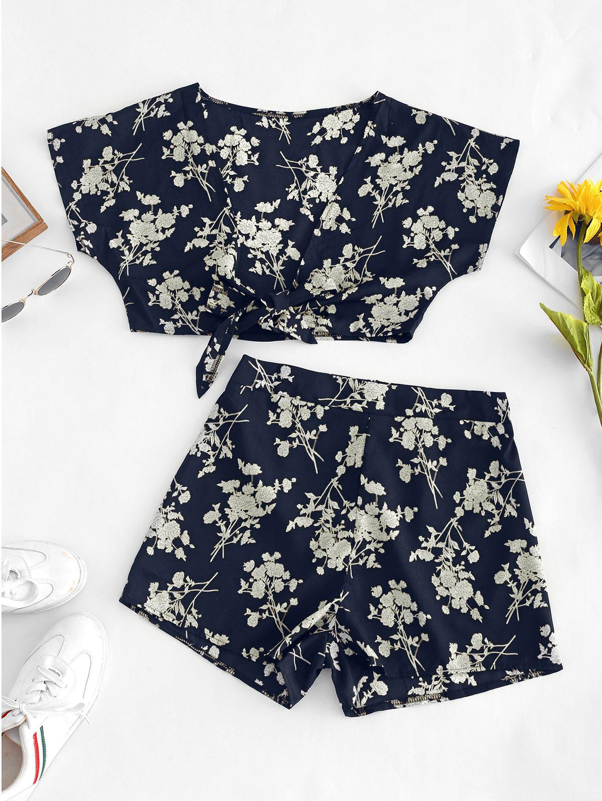 Flower Print Knotted Plunging Two Piece Set