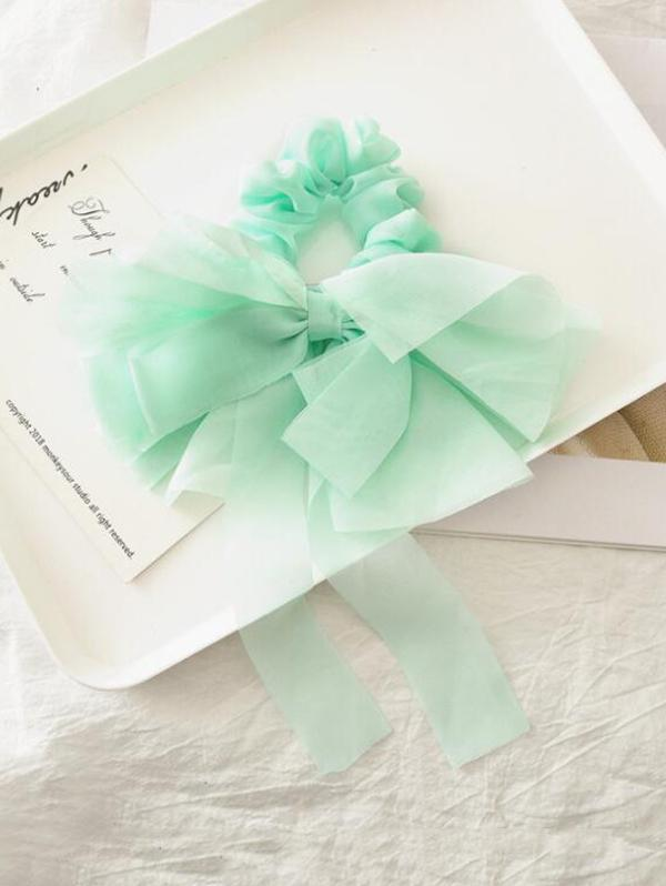 Solid Color Layered Bowknot Elastic Scrunchie