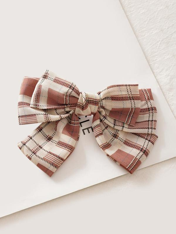 Plaid Printed Bowknot Hair Clip