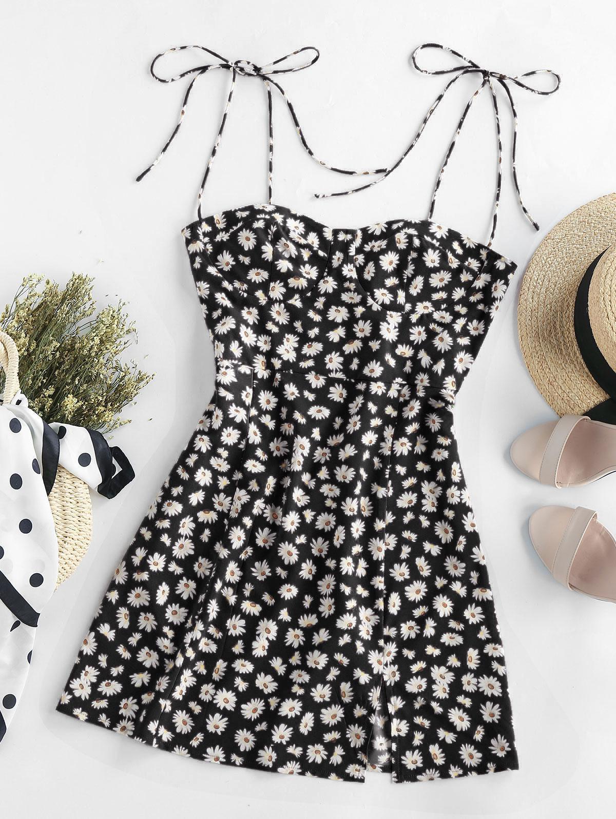 ZAFUL Floral Tie Shoulder Slit Cami Dress