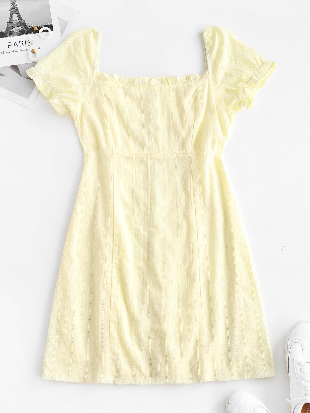 Frilled Topstitching Milkmaid Dress