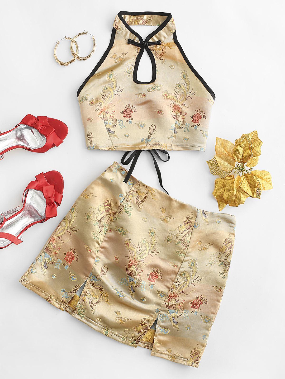Dragon Peacock Jacquard Oriental Keyhole Slit Mini Skirt Set