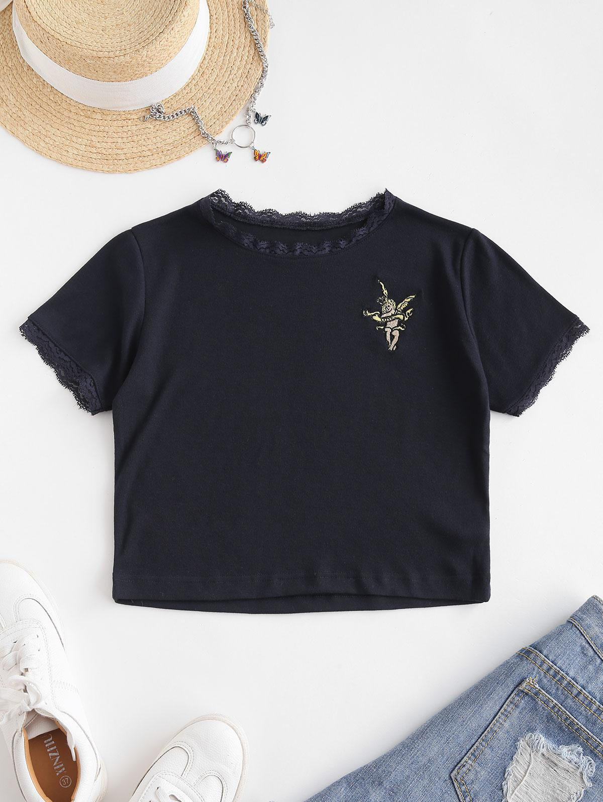 Lace Trim Angel Embroidered Crop Top