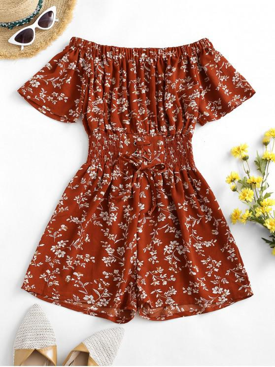 fashion Lace Up Off Shoulder Ditsy Floral Romper - RED XL