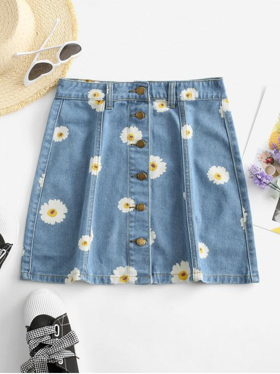 hot Button Up Daisy Print Denim Skirt - DENIM BLUE M