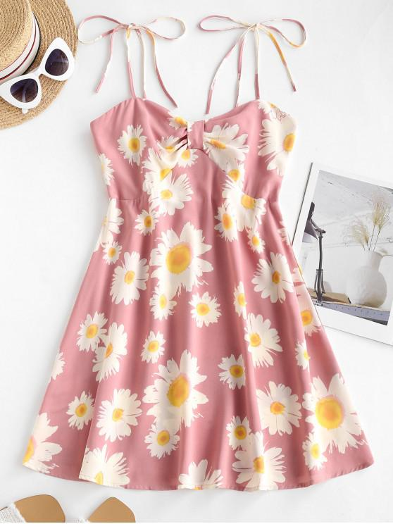 unique Floral Print Smocked Back Tie Strap Dress - PINK M