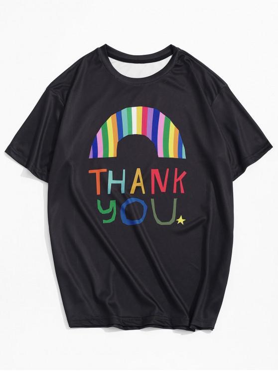 Graphic Letter Print Leisure T-shirt - أسود 3XL