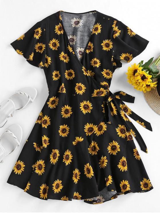sale ZAFUL Sunflower Flutter Sleeve Wrap Dress - BLACK S