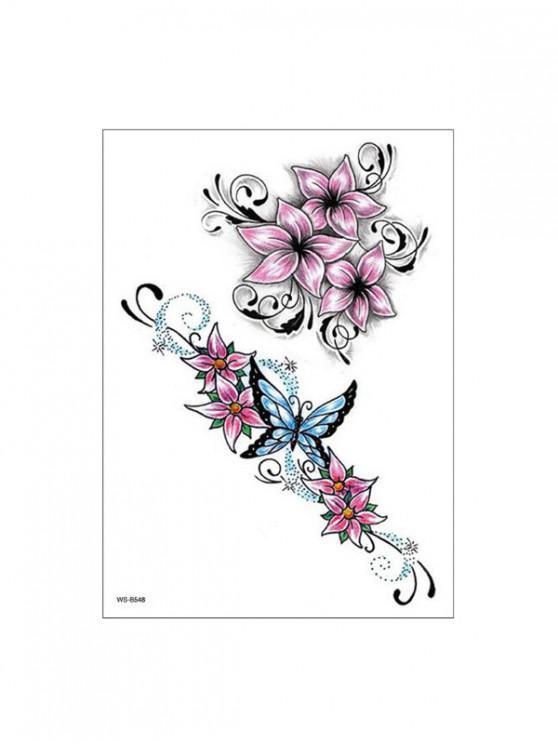 fancy Butterfly Flower Pattern Tattoo Stickers - PINK