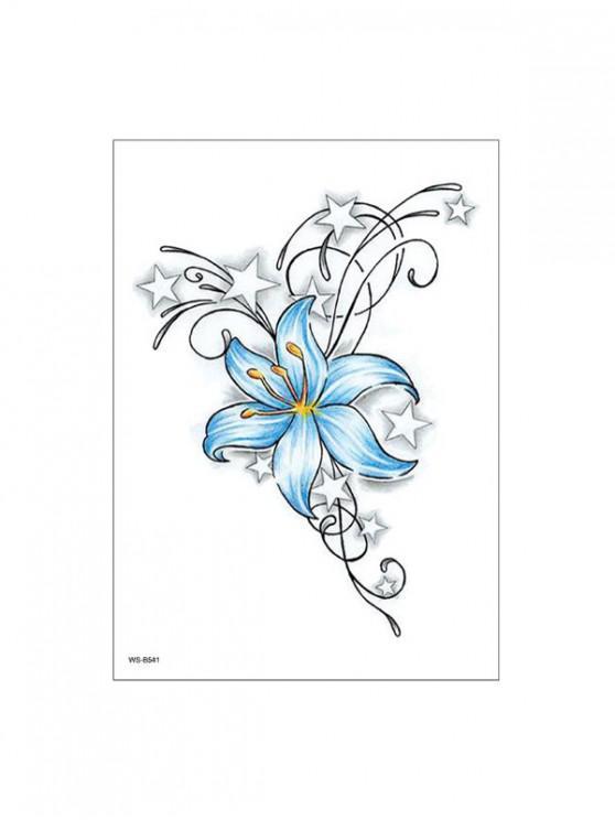 Floare de model de lungă durată Tattoo autocolant - Albastru