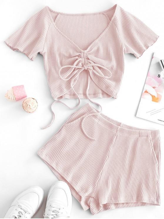 fashion Textured Cinched Raglan Sleeve Loose Shorts Set - SAKURA PINK L