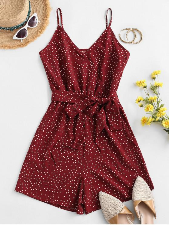 chic Belted Dotted Surplice Cami Romper - RED L