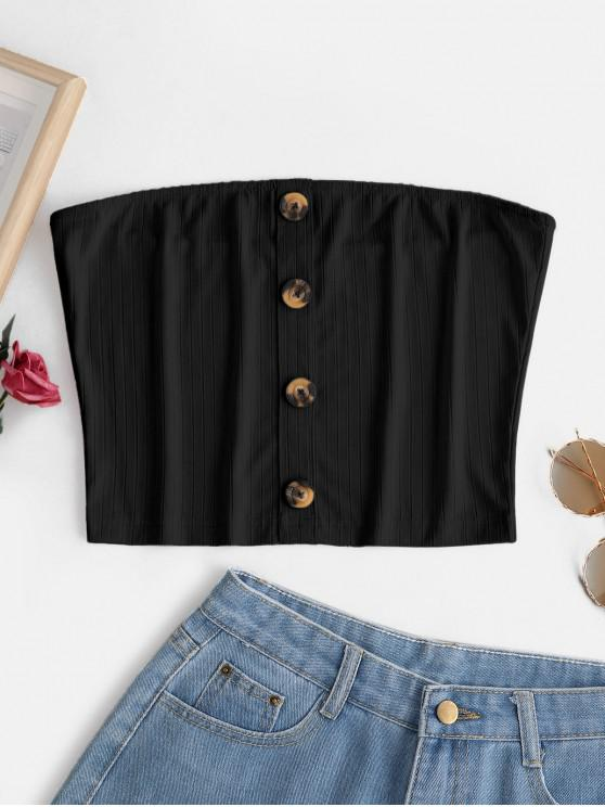 ZAFUL Buttoned Ribbed Bandeau Top - أسود M