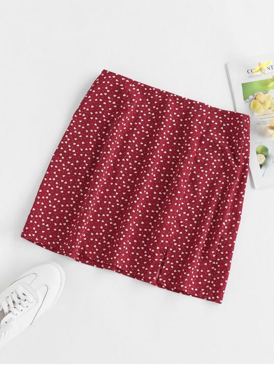 women's ZAFUL Heart Print Slit Mini Skirt - RED WINE M