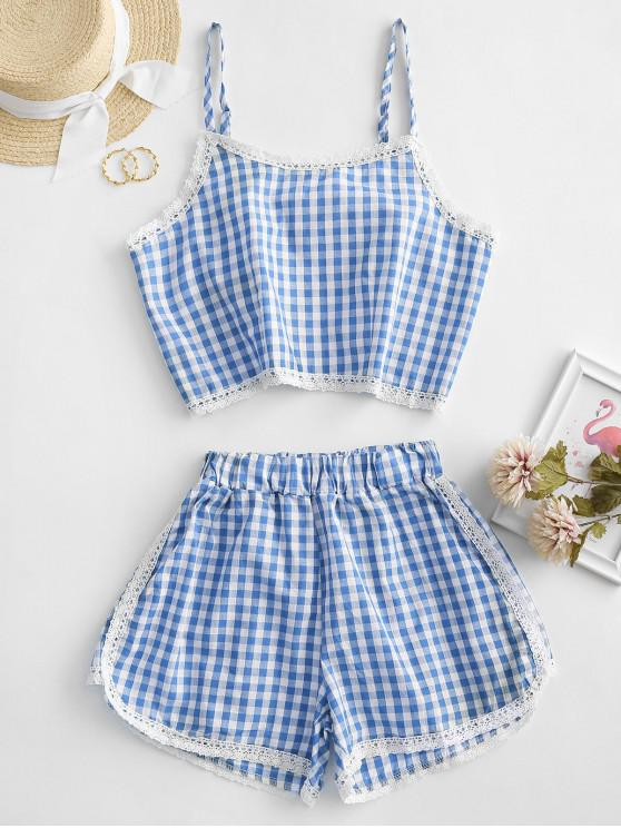 unique Gingham Lace Panel Cami Two Piece Suit - SKY BLUE XL