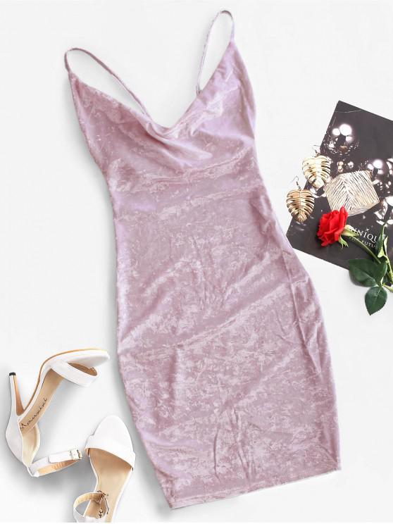 lady Cowl Front Velvet Bodycon Dress - WISTERIA PURPLE M