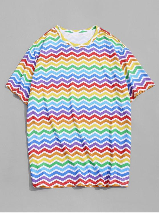 Colorful Zig Zag Printed Short Sleeves T-shirt - متعددة-A XL