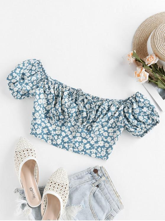 latest ZAFUL Bowknot Ditsy Print Crop Blouse - BLUE GRAY M