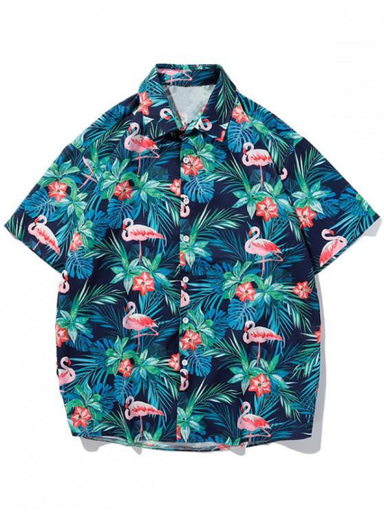 Camisa con Estampado de Hojas Tropicales - Azul de Dodgers XL