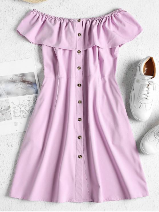 fashion ZAFUL Off Shoulder Button Up Mini Dress - MAUVE L