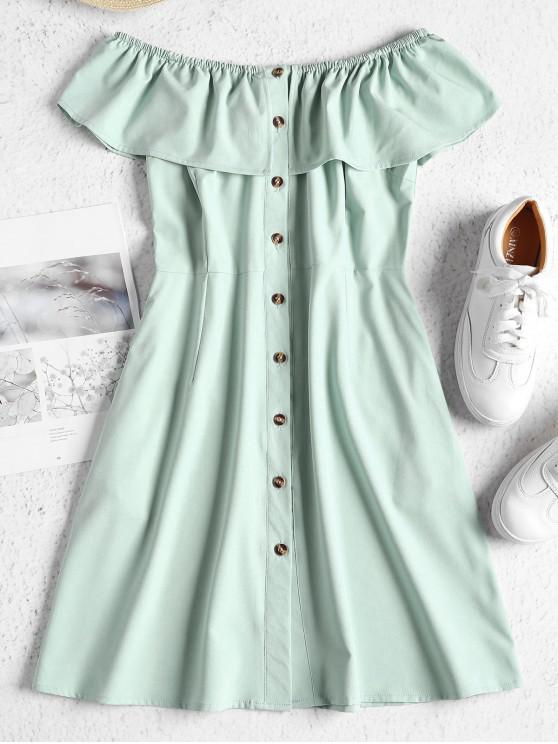 outfits ZAFUL Off Shoulder Button Up Mini Dress - PALE BLUE LILY L