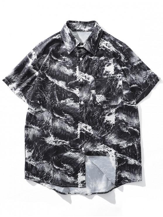 trendy Marble Print Chest Pocket Button Shirt - BLACK 2XL