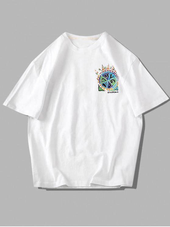 Grafisches Farben Kurzarm Basik T-Shirt - Weiß 4XL