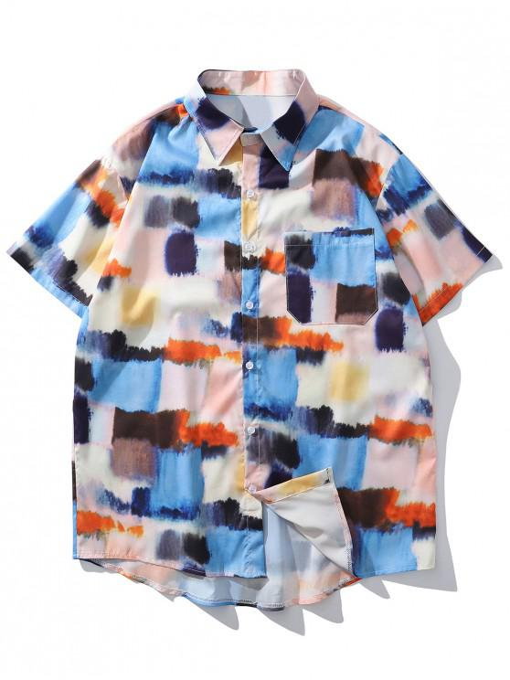 fancy Tie Dye Print Pocket Button Down Shirt - BLUE IVY 2XL