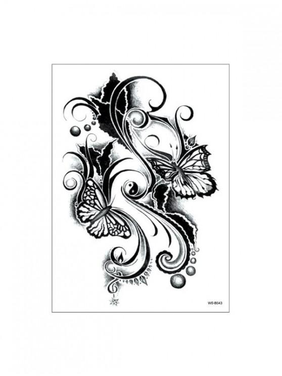 unique Butterfly Taichi Patterned Tattoo Stickers - BLACK