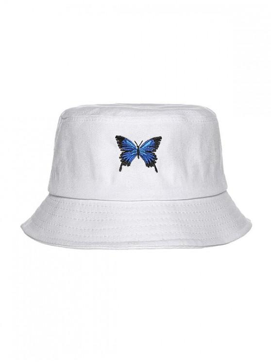 women Butterfly Embroidery Casual Bucket Hat - WHITE