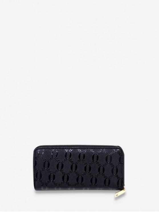 women's Chain Embossed Leather Long Clutch Wallet - BLACK