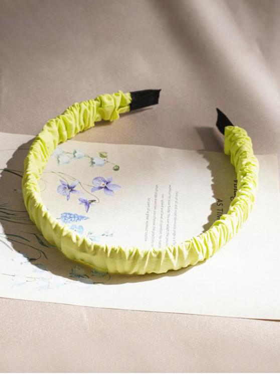 Candy-colored Ruched Fabric Hairband - الأصفر