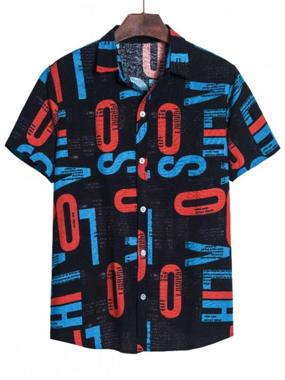 best Letter Print Lounge Button Up Shirt - MULTI 2XL