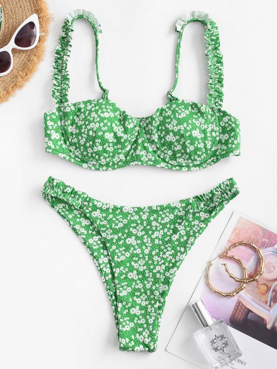 trendy ZAFUL Ribbed Ditsy Print Frilled Underwire Balconette Bikini Swimwear - CLOVER GREEN M