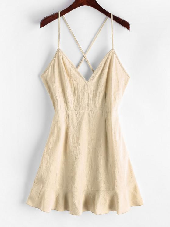 women ZAFUL Ruffles Criss Cross Solid Cami Dress - LIGHT KHAKI L