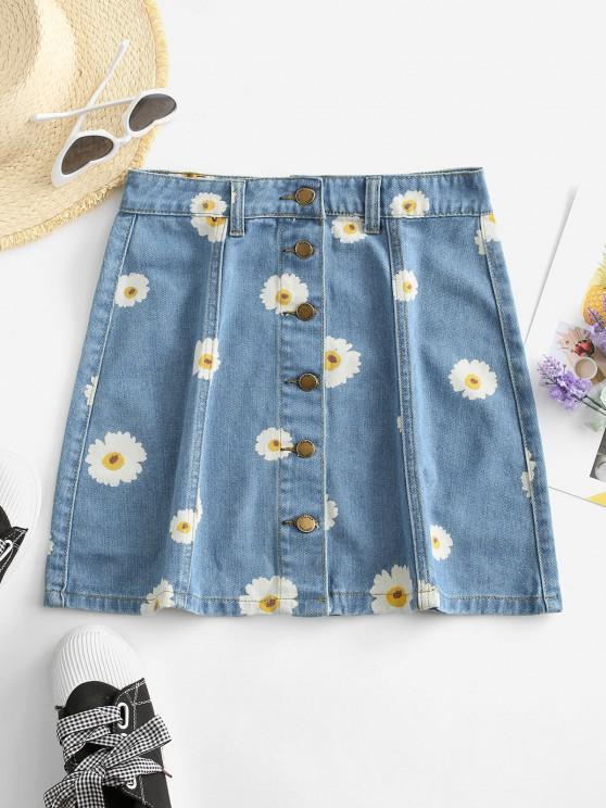 unique Button Up Daisy Print Denim Skirt - DENIM BLUE S